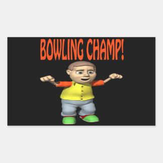 Bowling Champ Rectangular Sticker