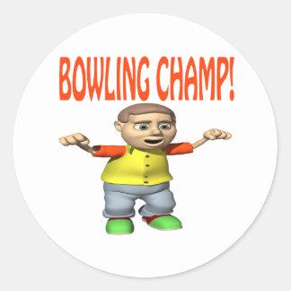 Bowling Champ Classic Round Sticker