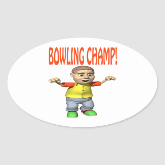 Bowling Champ Oval Sticker