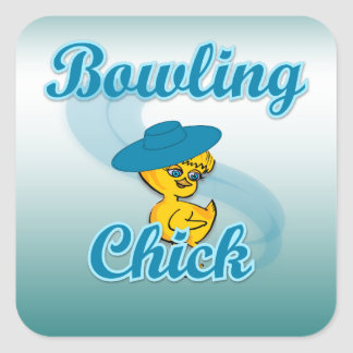 Bowling Chick #3 Square Stickers