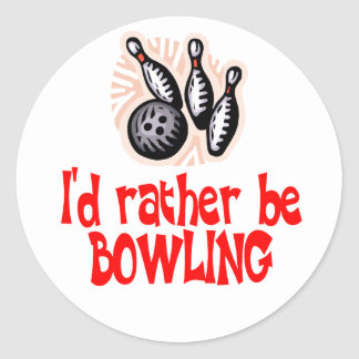Bowling Chick Rather Classic Round Sticker