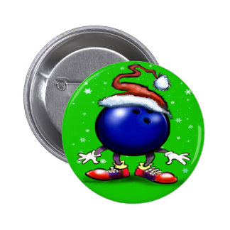 Bowling Christmas 2 Inch Round Button