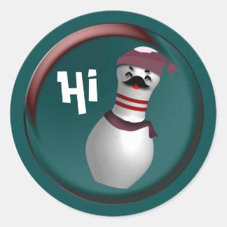 Bowling Christmas Classic Round Sticker