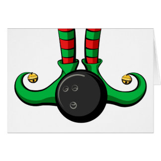 Bowling Christmas Elf Feet Card