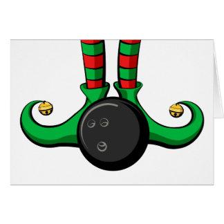 Bowling Christmas Elf Feet Greeting Card