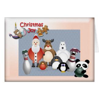 Bowling Christmas Joy Greeting Cards