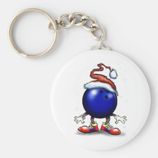 Bowling Christmas Basic Round Button Keychain