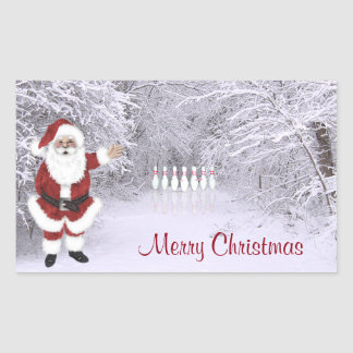 Bowling Christmas Rectangular Sticker