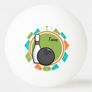 Bowling; Colorful Argyle Pattern Ping-Pong Ball