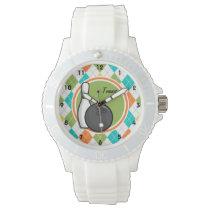 Bowling; Colorful Argyle Pattern Wristwatch