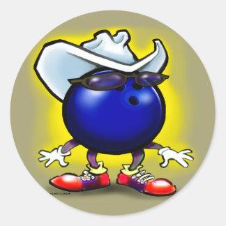 Bowling Cowboy Classic Round Sticker