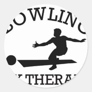 bowling design classic round sticker