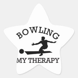 bowling design star sticker