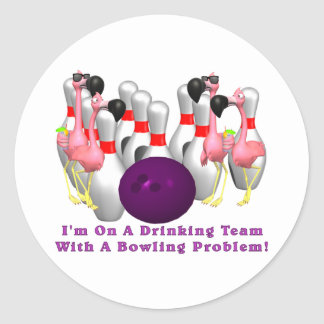 Bowling: Drinking Team Classic Round Sticker