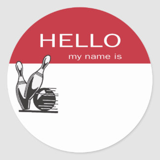 Bowling event hello name tags