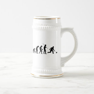 bowling evolution from man to bowler 18 oz beer stein