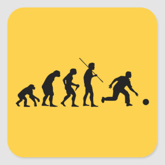 bowling evolution from man to bowler square sticker
