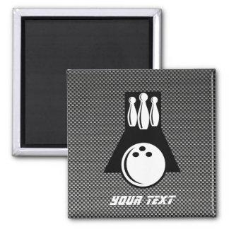 Bowling; Faux Carbon Fiber 2 Inch Square Magnet
