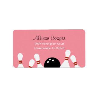 Bowling Fun Address Label (Pink) Address Label