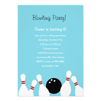 Bowling Fun Party Invitation Turquoise Custom Announcement