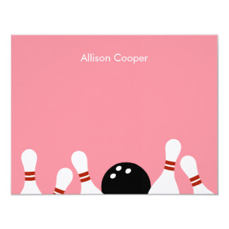 "Bowling Fun Thank You Card (Pink) 4.25"" X 5.5"" Invitation Card"