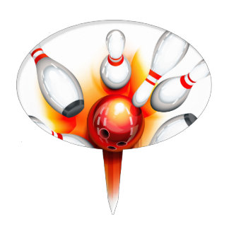 Bowling game (top view) cake topper