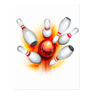 Bowling game (top view) postcard