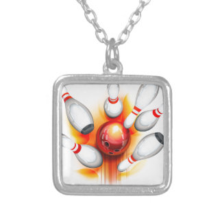 Bowling game (top view) silver plated necklace