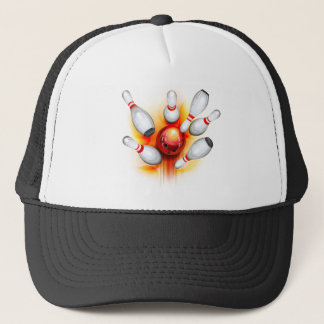 Bowling game (top view) trucker hat