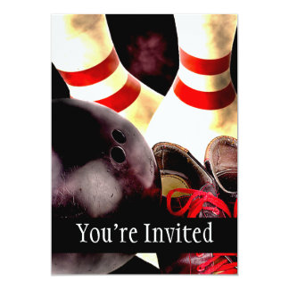 Bowling Gear Grunge Style 5x7 Paper Invitation Card