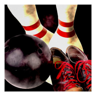 Bowling Gear Grunge Style Poster