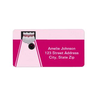 Bowling Girl Birthday Address Label