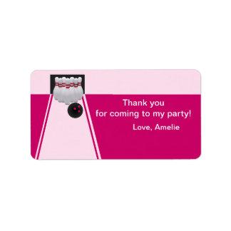 Bowling Girl Birthday Favor Tag Label