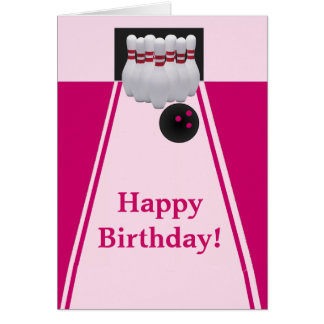 Bowling Girl Birthday Greeting Card