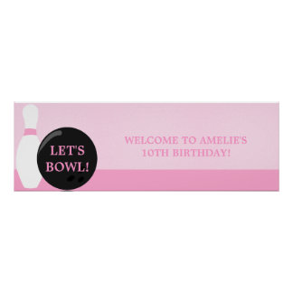 Bowling Girl Birthday Party Banner Poster