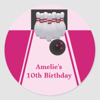 Bowling Girl Birthday Party  Sticker Round Sticker
