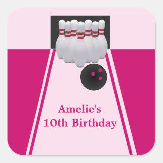 Bowling Girl Birthday Party Sticker