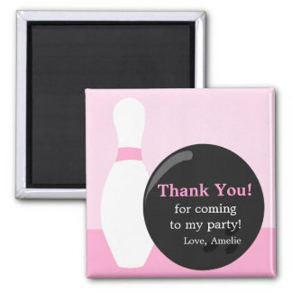Bowling Girl Birthday Party Thank You Magnet