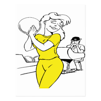 bowling girl postcard