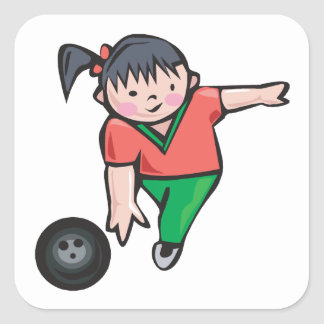 Bowling Girl Square Sticker
