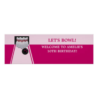 Bowling GirlBirthday Party Banner Poster