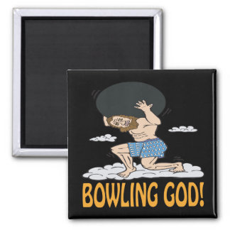 Bowling God 2 Inch Square Magnet