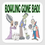 Bowling Gone Bad Square Stickers