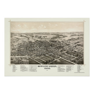 Bowling Green, OH Panoramic Map - 1888 Poster