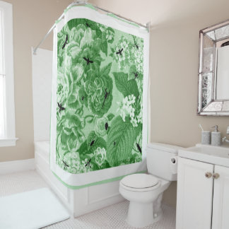 bowling green vintage botanical bugs floral toile shower curtain