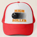 """Bowling High Roller Bowler Trucker Hat<br><div class=""""desc"""">Bowling Gifts: Many New Bowling Gift designs. This Funny Bowling Gift can be given anytime Birthday, Christmas or any holiday. Receiving a Bowling gift would be appreciated by any Bowling Lover anywhere. Bowling Rocks! Click on our shop link for other Gifts that include Beer Mugs, Coffee Cups, Hats and Caps,...</div>"""