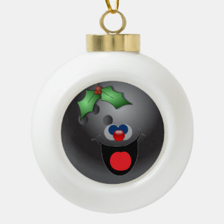 Bowling Holly-day Ceramic Ball Christmas Ornament