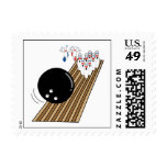 bowling humor pins running scared cartoon postage stamp