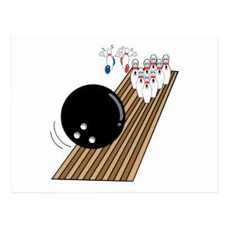 bowling humor pins running scared cartoon postcard