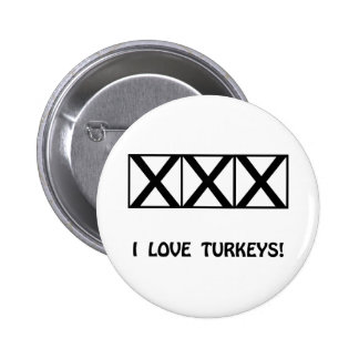 Bowling, I Love Turkeys T-Shirts & Gifts 2 Inch Round Button
